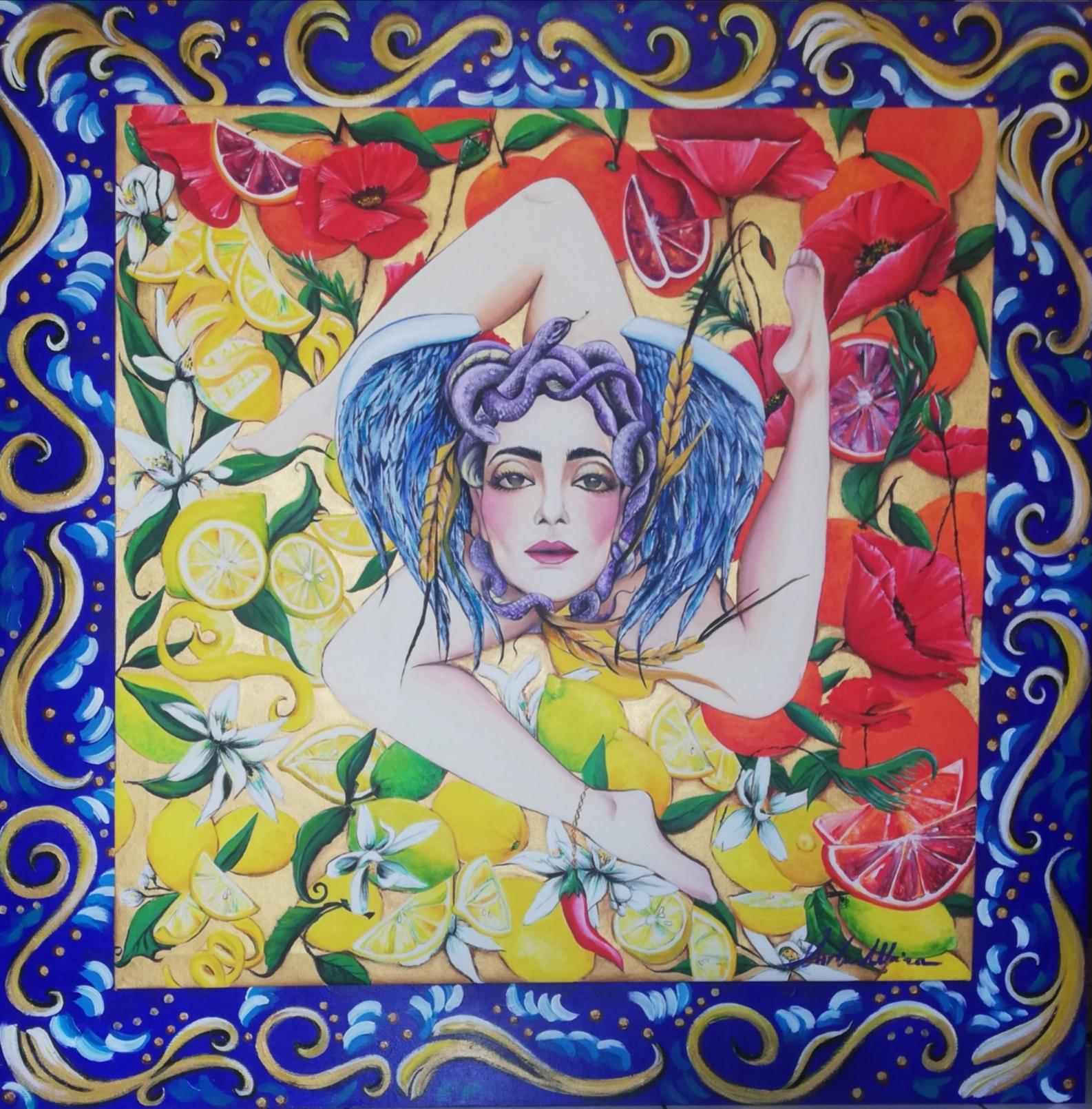 Carla Maira - Trinacria - tecnica mista su tela e tavola di legno (pioppo) - 122x122 cm - anno 2021