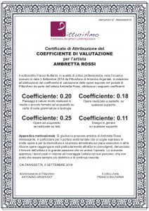 Certificazione ufficiale di attribuzione del Coefficiente d'artista di Ambretta Rossi
