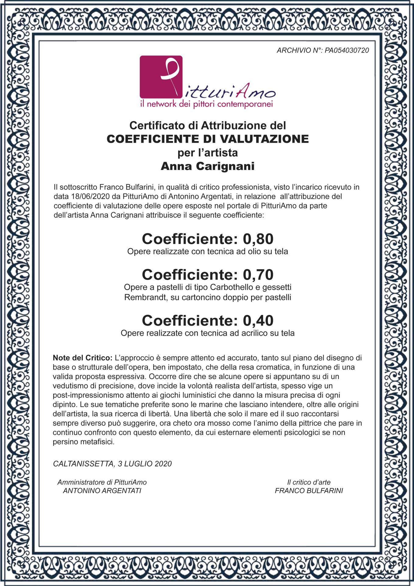 Certificazione del Coefficiente artistico di Anna Carignani