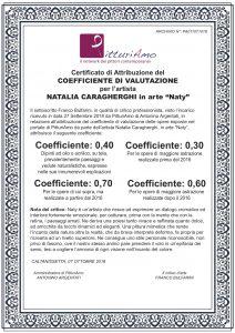 """Certificato di attribuzione del Coefficiente d'artista di Natalia Caragherghi, in arte """"Naty"""""""
