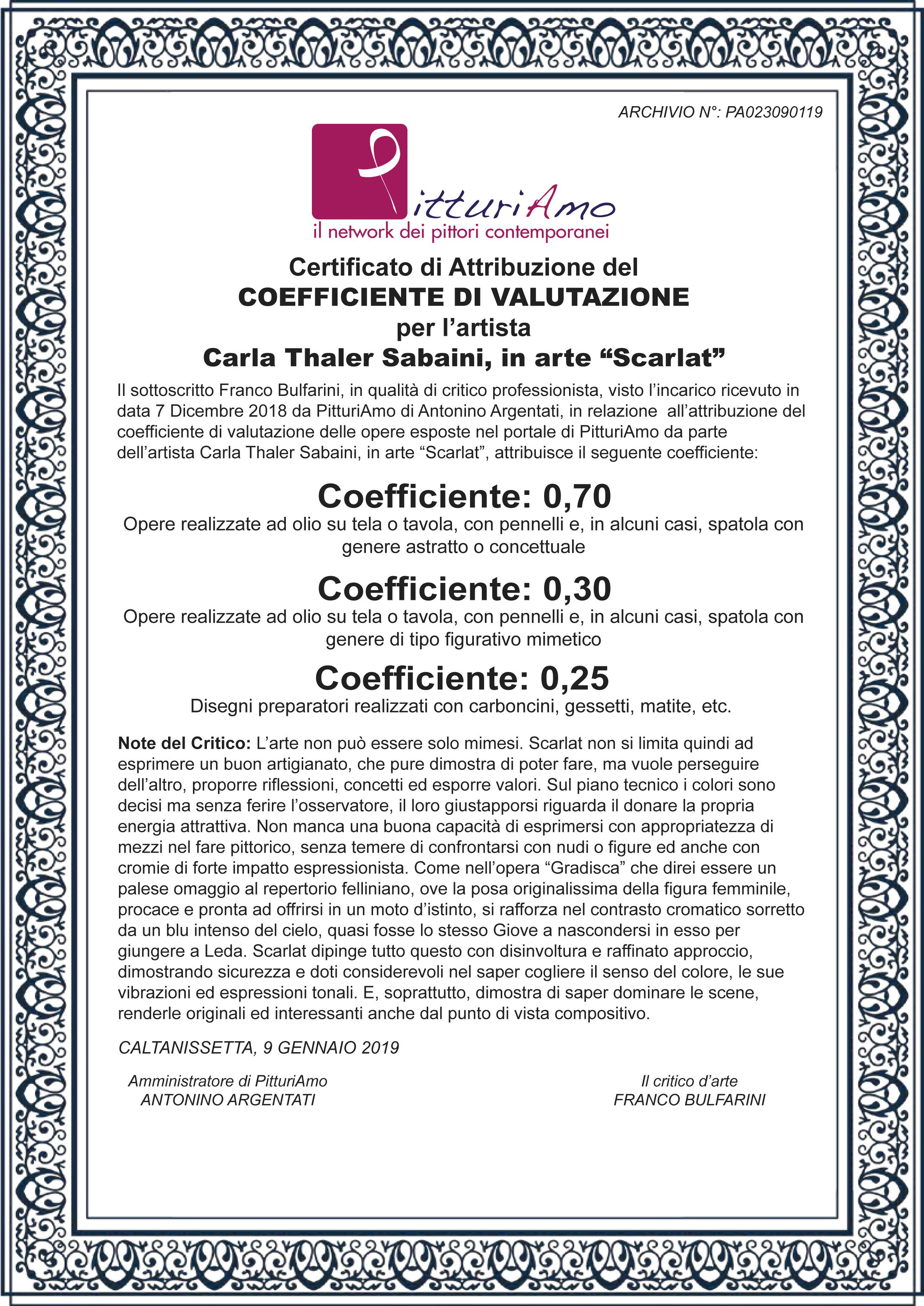 Coefficiente artistico di Carla Thaler, in arte Scarlat