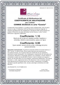 Attribuzione del Coefficiente d'artista di Connie Sciacca, in arte 'Connie'