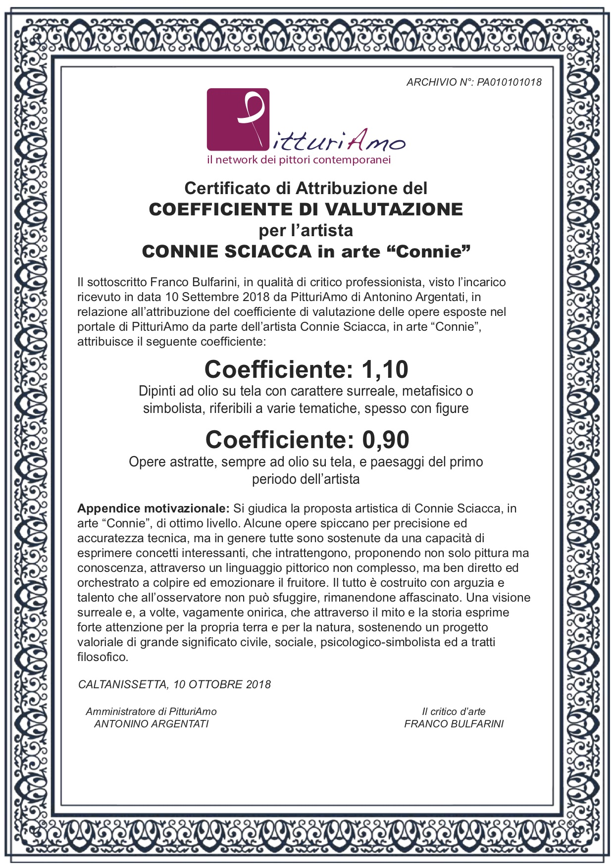 Il coefficiente d 39 artista di connie sciacca in arte for Arte arredi sciacca