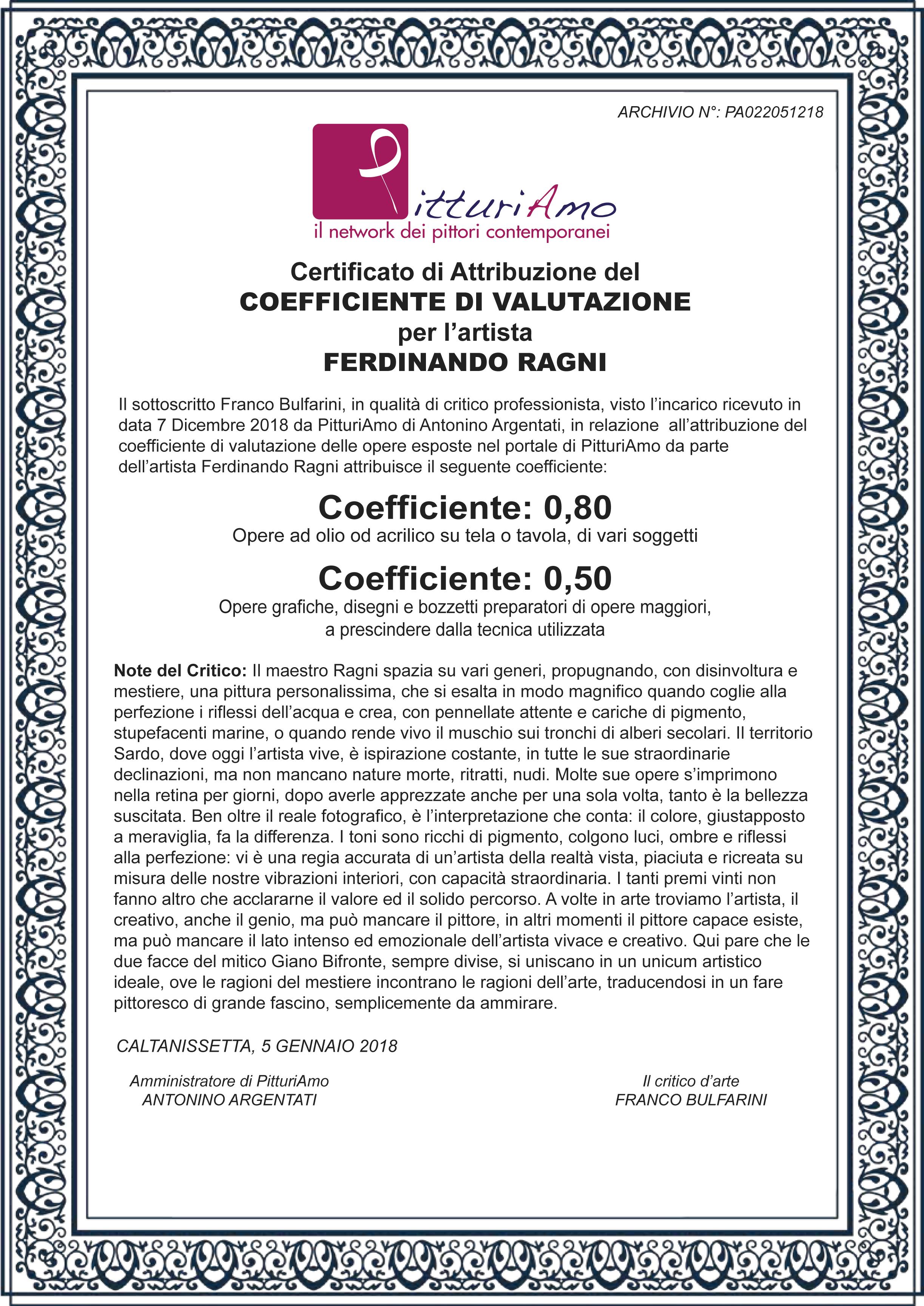 Certificazione del Coefficiente ufficiale d'artista di Ferdinando Ragni - Artista su PitturiAmo©