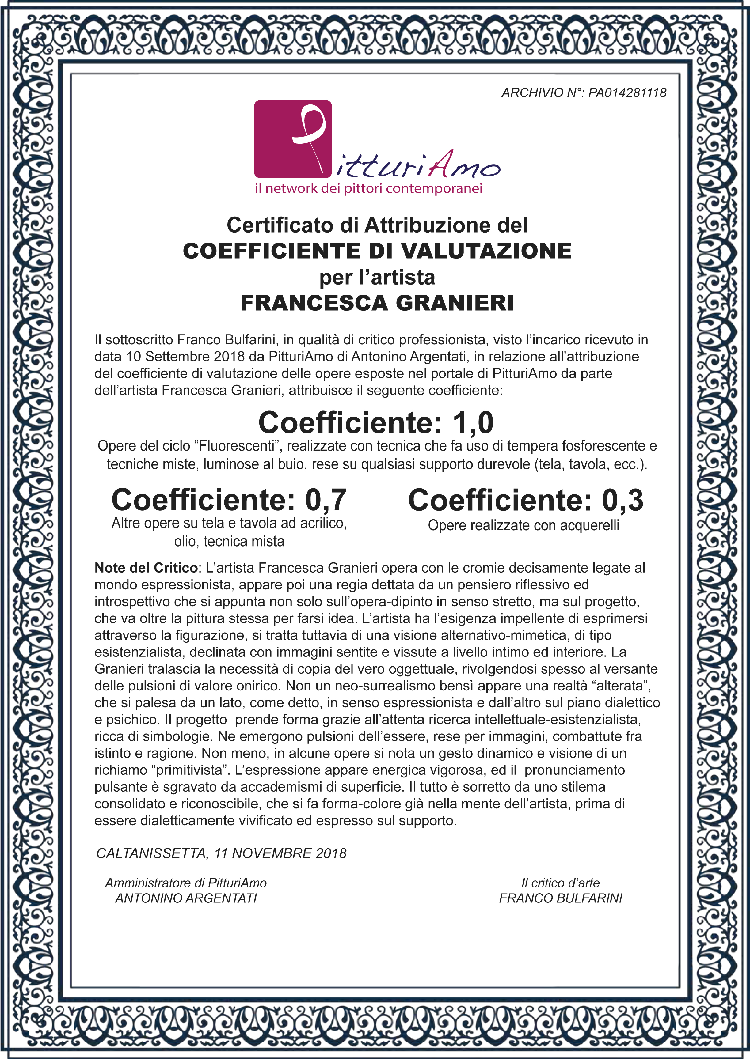 Coefficiente di valutazione dell'artista Francesca Granieri