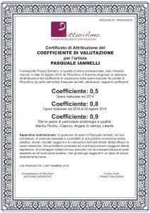 Il Coefficiente Artistico di Pasquale Iannelli. Certificato di attribuzione.