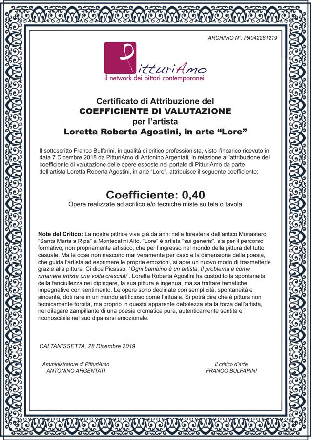 Il Coefficiente artistico di Loretta Agostini, in arte Lore