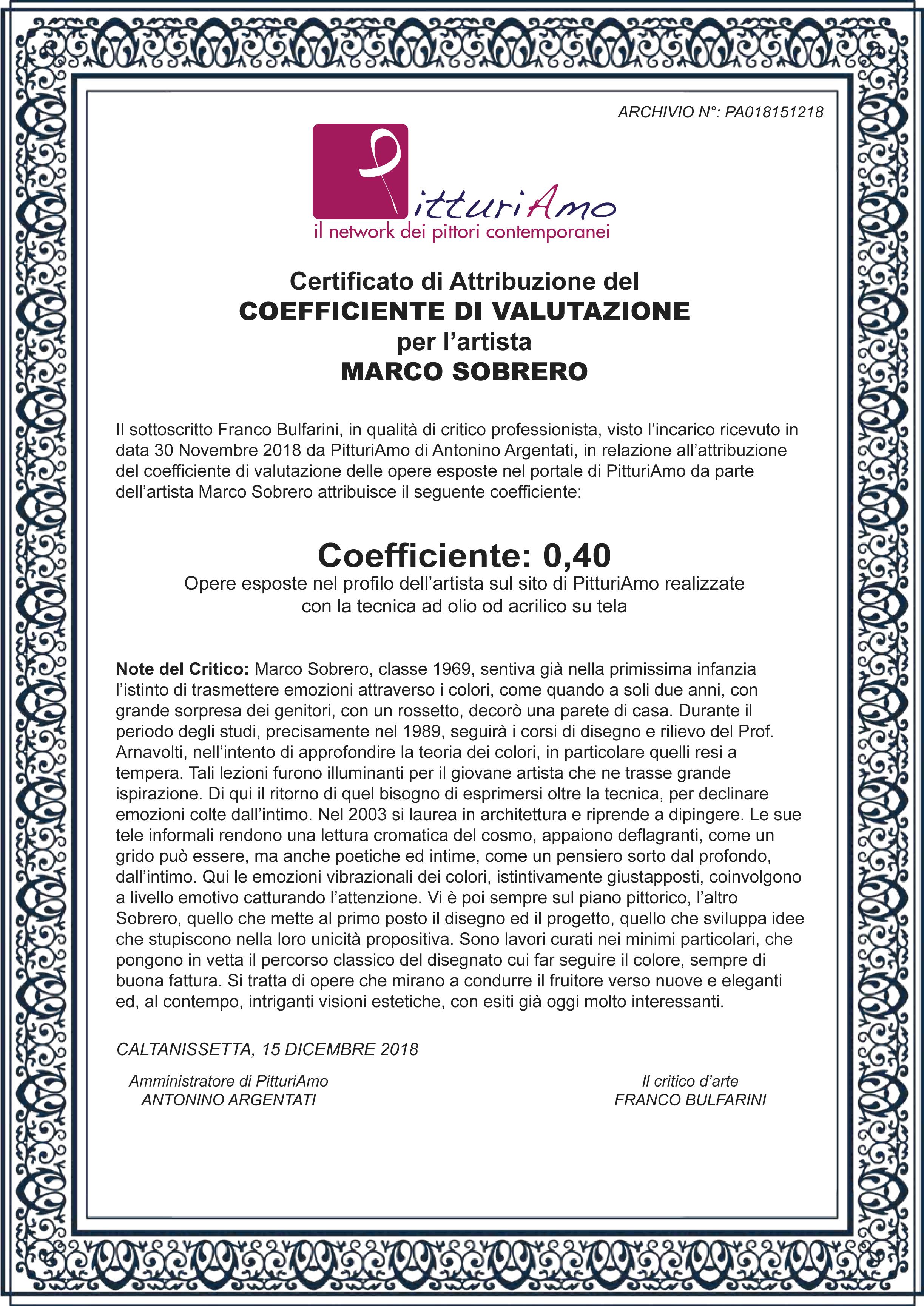 Coefficiente di valutazione artistica di Marco Sobrero