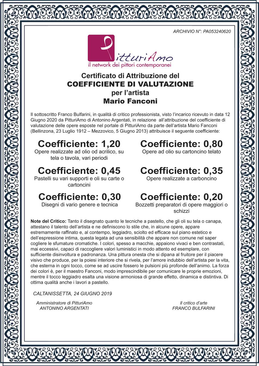 Coefficiente di valutazione dell'artista Mario Fanconi