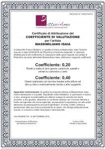 Certificazione ufficiale del Coefficiente d'Artista di Massimiliano Isaia