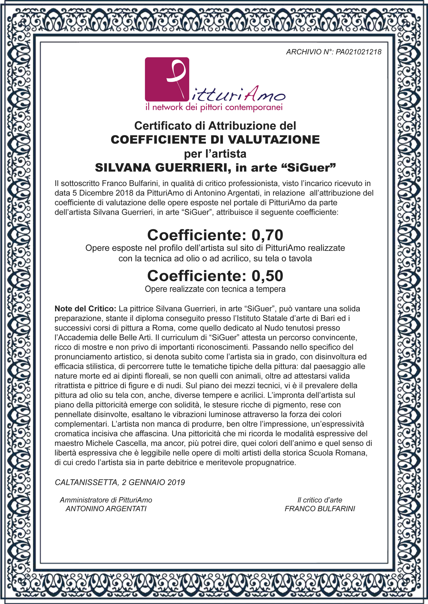 Il Coefficiente d'artista di Silvana Guerrieri, in arte SiGuer