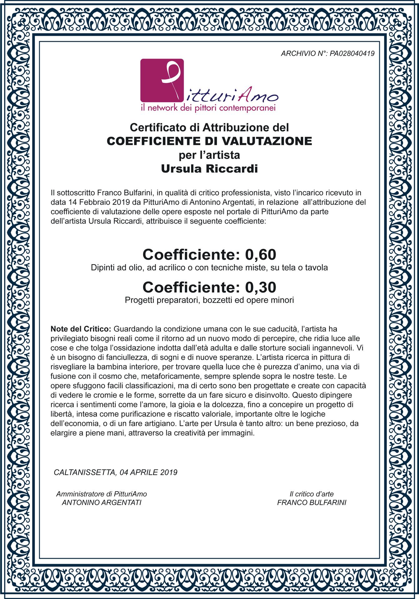 Coefficiente di valutazione artistica di Ursula Riccardi - Pittrice contemporanea