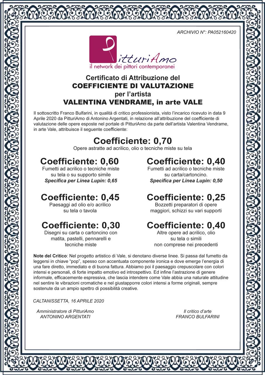 Il coefficiente della pittrice Valentina Vendrame, in arte Vale