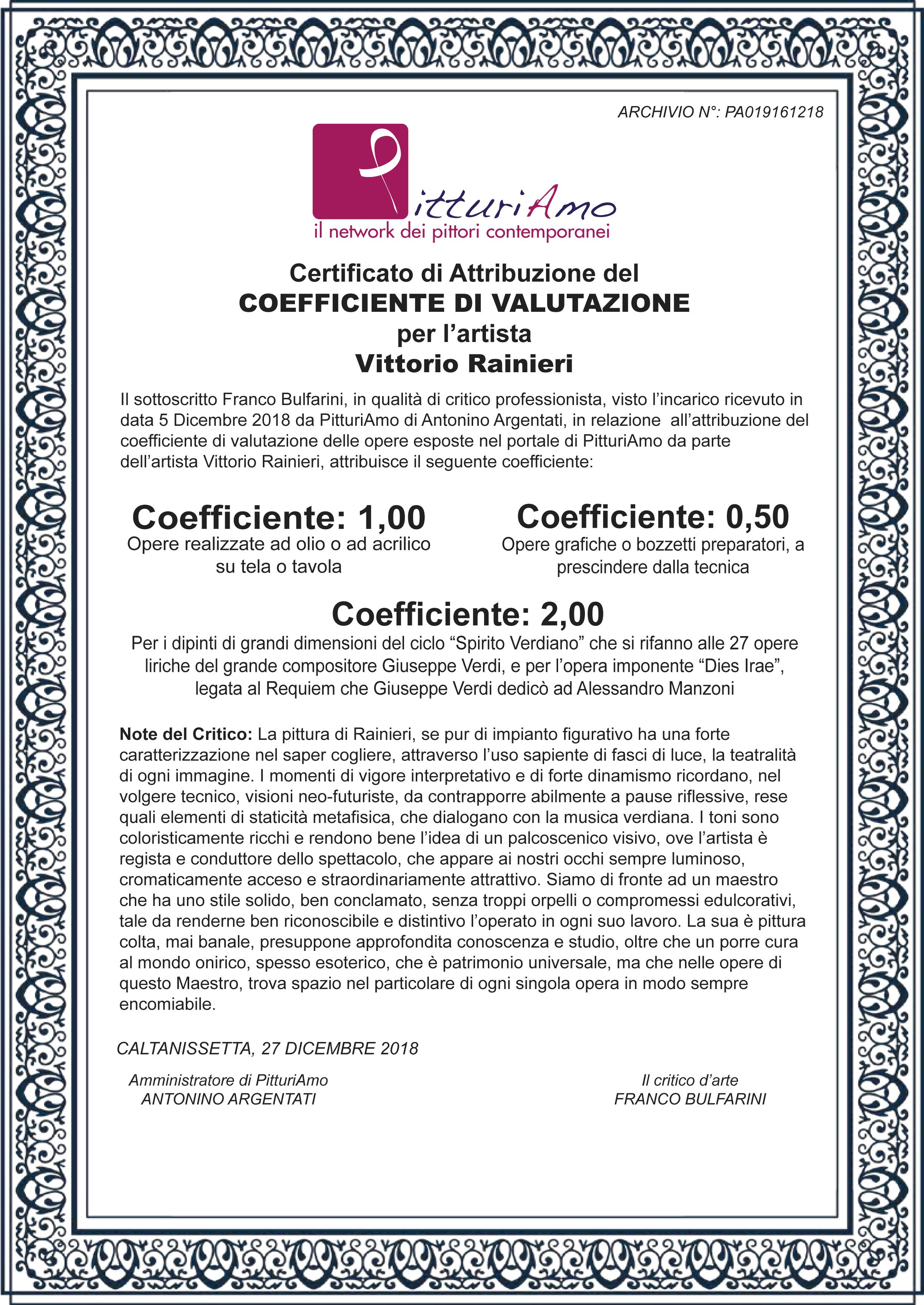 Coefficiente d'artista di Vittorio Rainieri