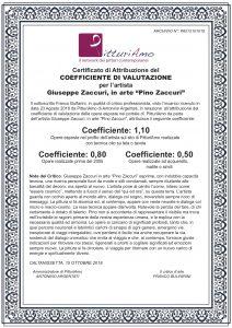 """Attribuzione del coefficiente d'artista di Giuseppe Zaccuri, in arte """"Pino Zaccuri"""""""