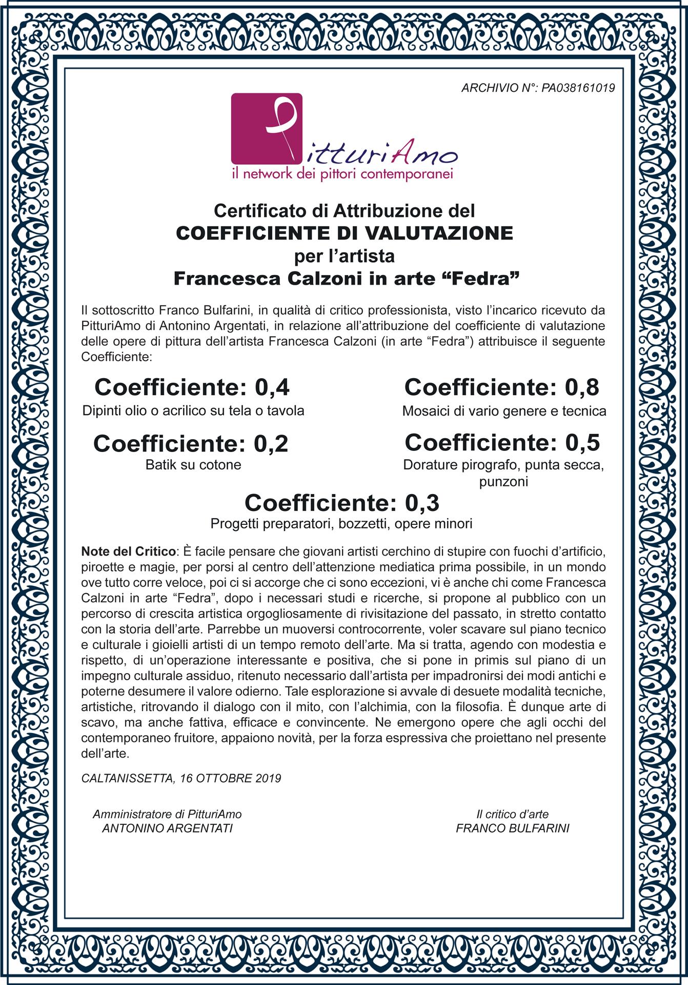 Coefficiente Artistico di Francesca Calzoni, in arte FEDRA