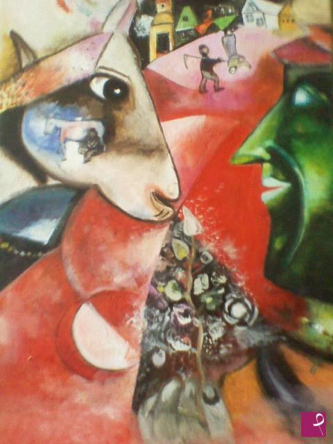 Falso d'autore del quadro io e il villaggio di Marc Chagall, realizzato dalla pittrice contemporanea Maria