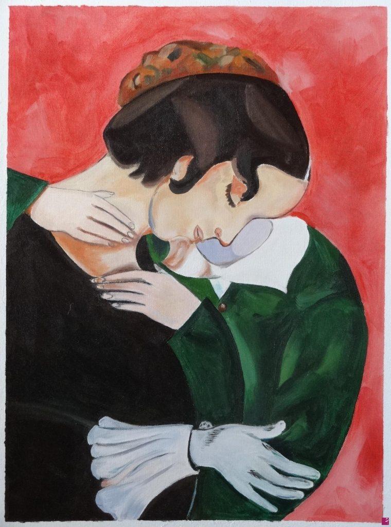 Falso d'autore del Gli amant in rosa di Marc Chagall, realizzato alla pittrice contemporanea Daniela Protopapa