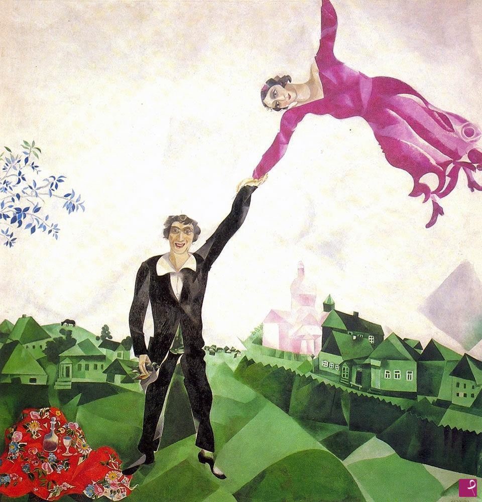 Falso d'autore del La passeggiata di Marc Chagall, realizzato dal pittore contemporaneo Pittore Gabriel
