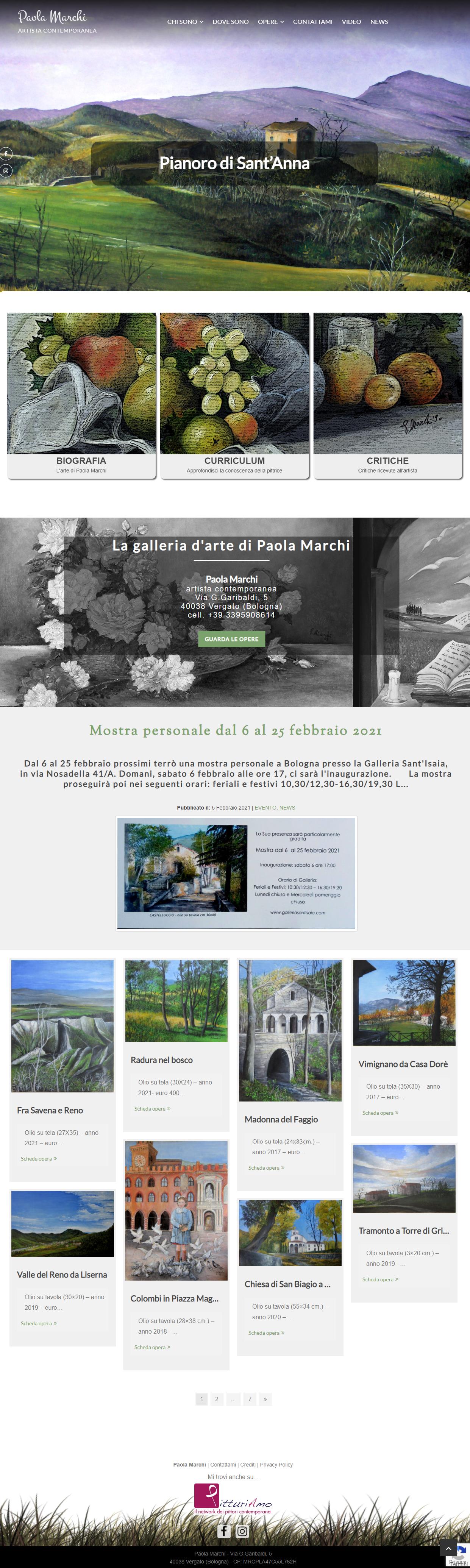 Il sito web dell'artista Paola Marchi - Homepage