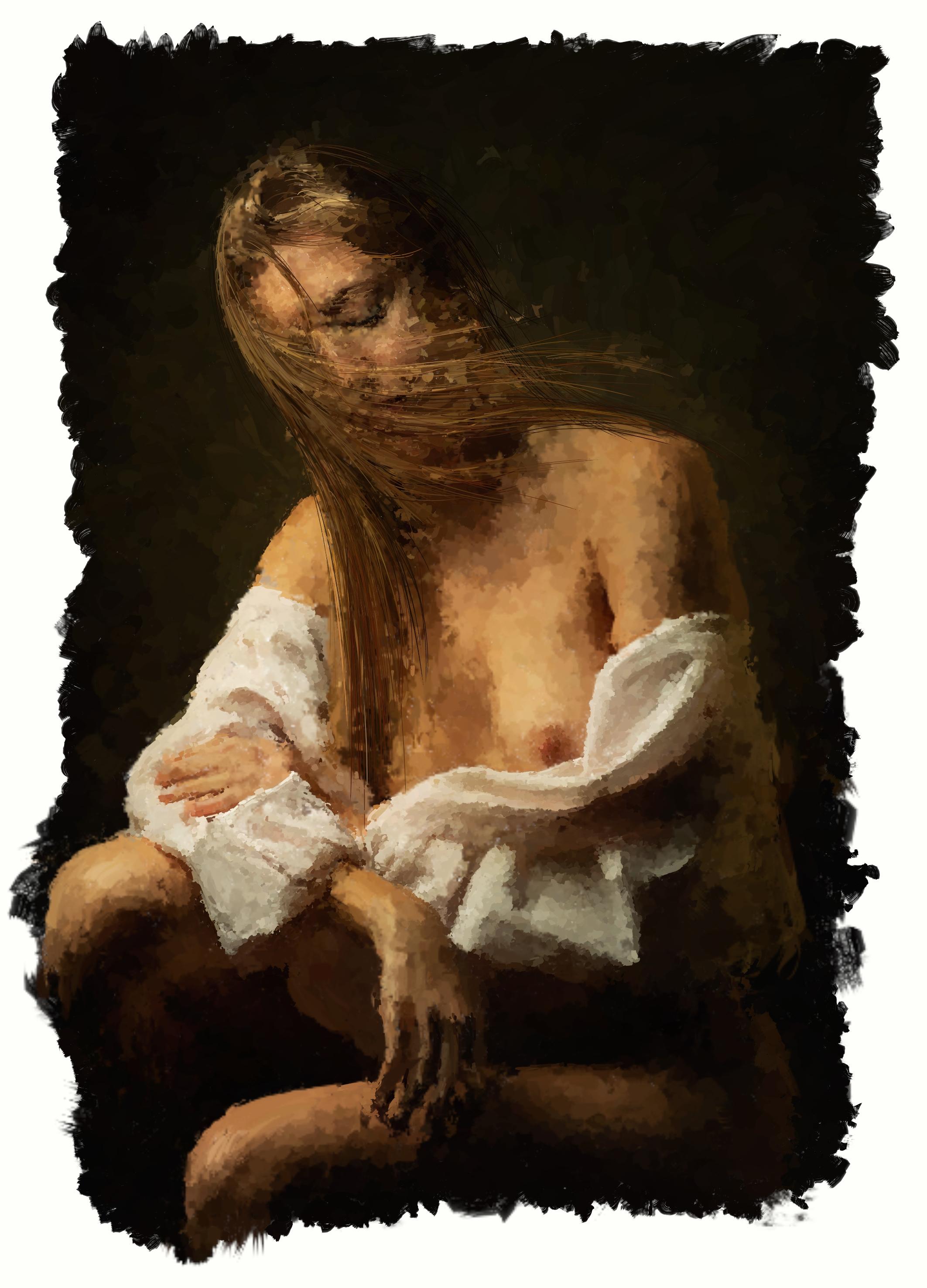 Luciano Curtarello - Pensando a te - tecnica mista (base in disegno e pittura digitale e acrilico su tela) - 70x100 cm