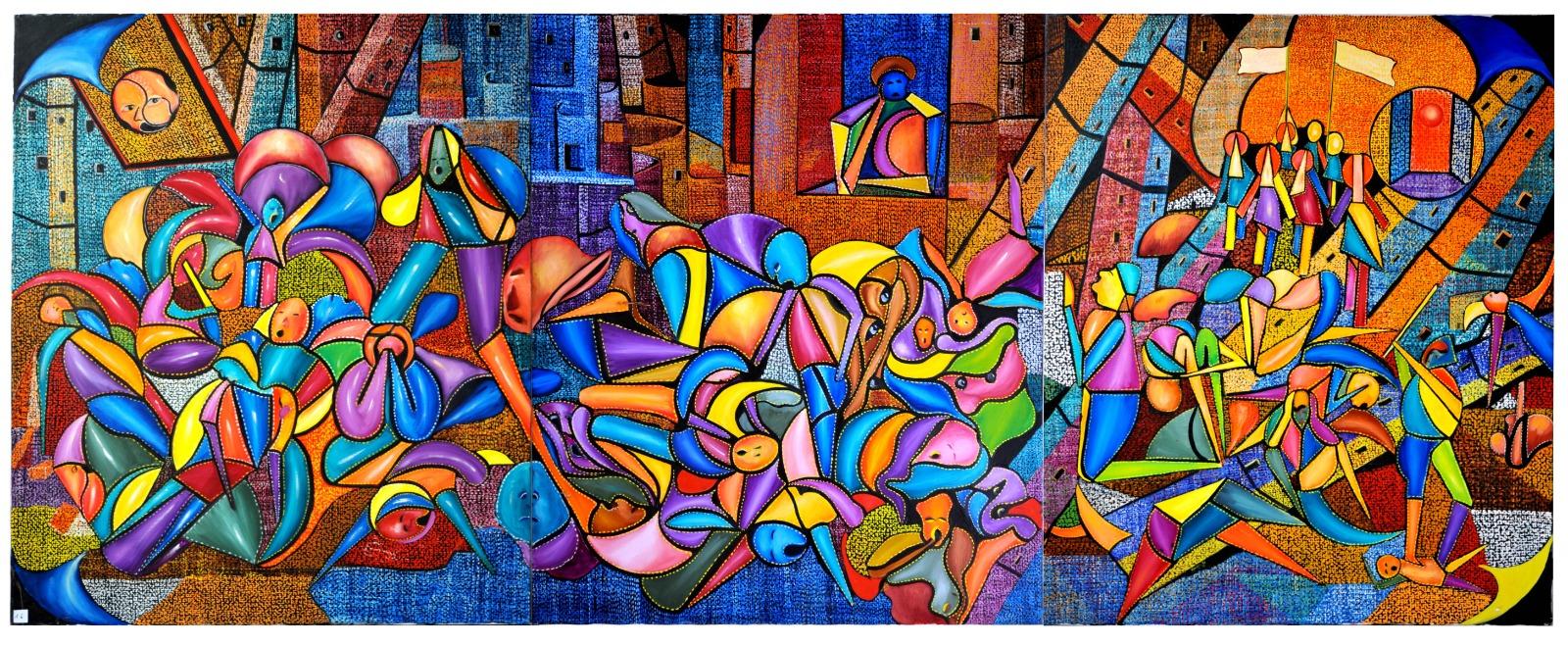 Mario Angelo Vacca - Ieri, oggi, domani - olio su tela (trittico) - 300x100 cm