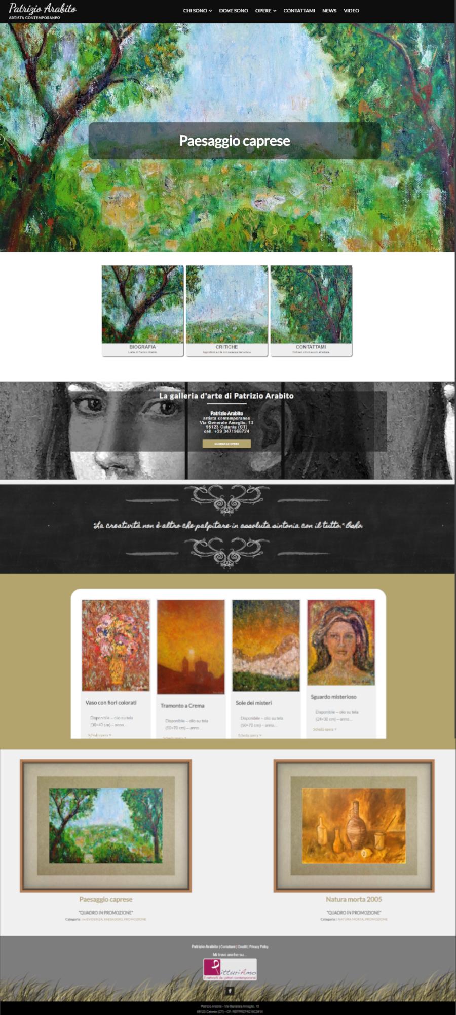Il nuovo sito dell'artista Patrizio Arabito home