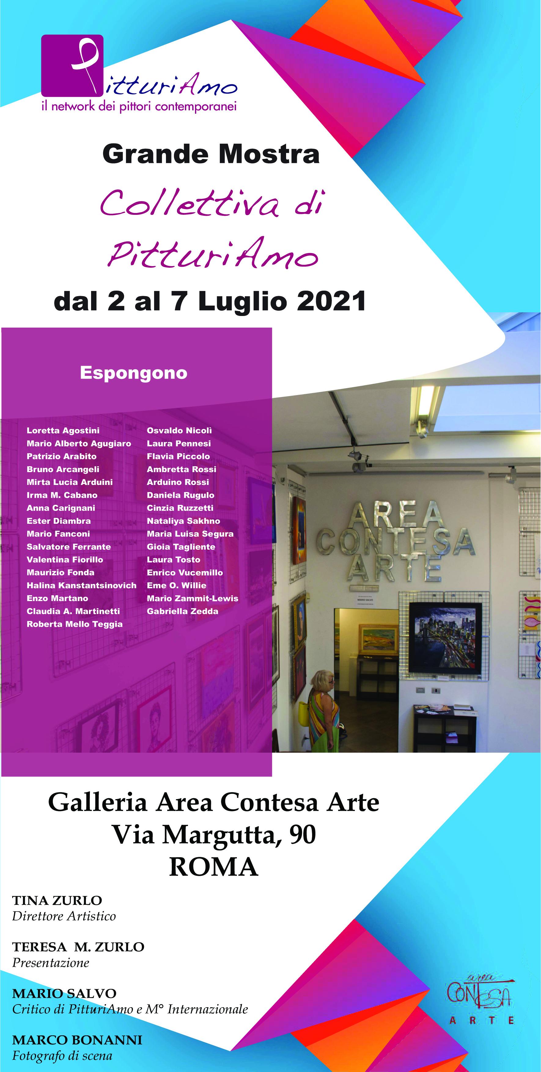 Locandina Mostra collettiva di PitturiAmo - dal 2 al 7 Luglio 2021 presso la Galleria Area Contesa Arte (Via Margutta 90 - Roma)