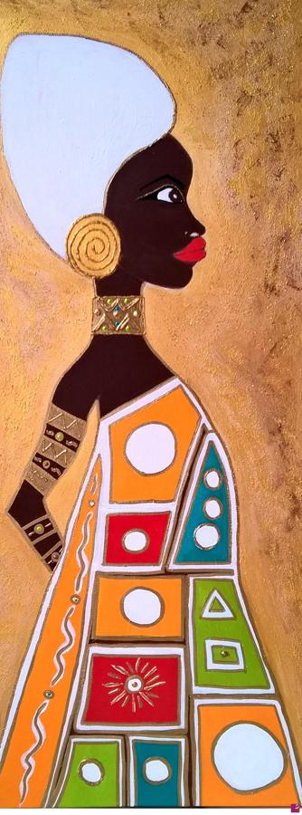 Afrika Magic Gold - Tecnica mista su tela di cotone - 40x80cm