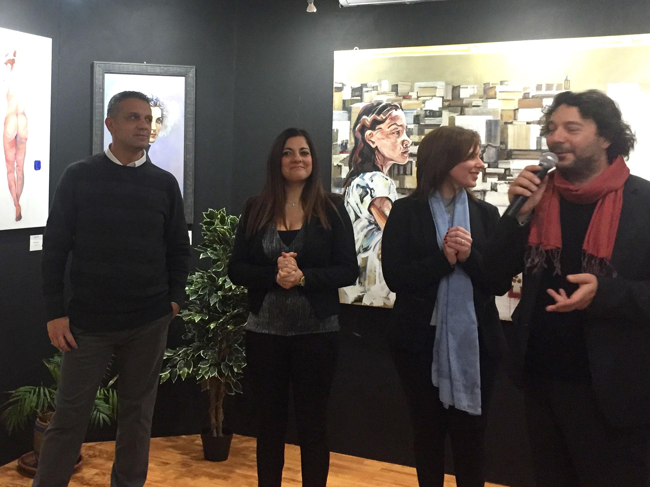"""Nino Argentati, Barbara Romeo, leonarda zappulla e Sandro Serradifalco durante il Premio """"I Grandi dell'Arte"""" tenutosi a Palermo dal 15 al 21 Dicembre 2019"""