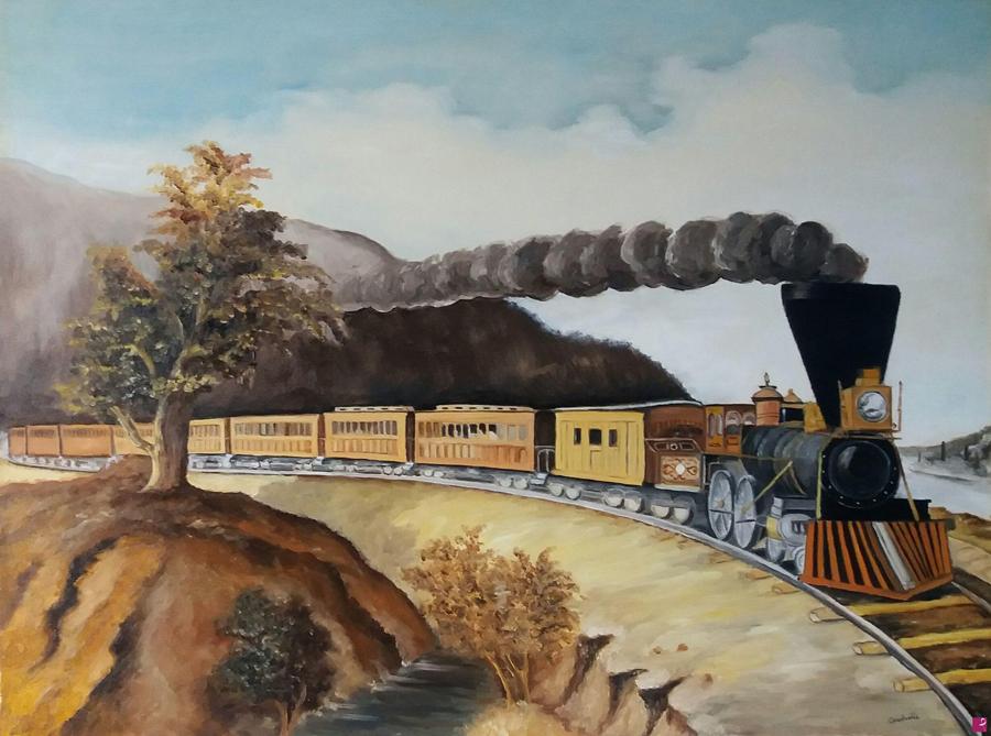 Espresso americano a vapore (copia Fanny Palmer) - Olio su tela - 60x45cm