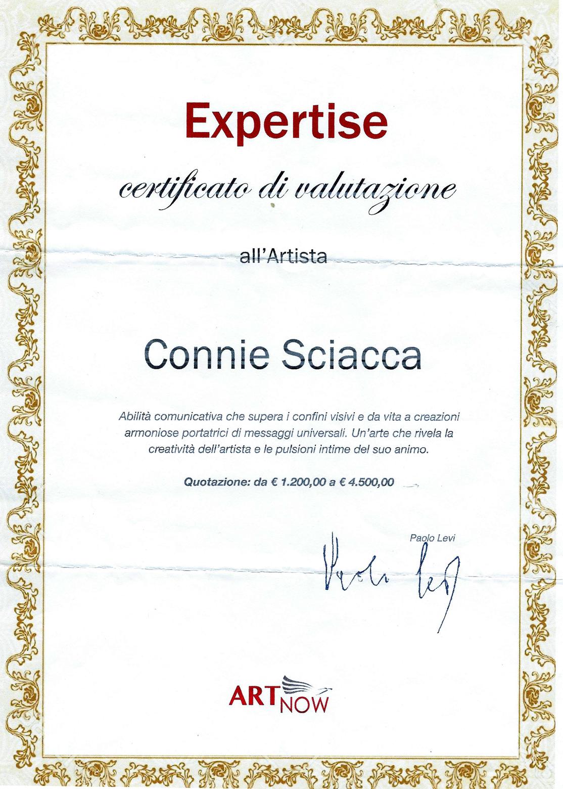 Aggiornamento del coefficiente artistico di Connie Sciacca - Paolo Levi - Expertise