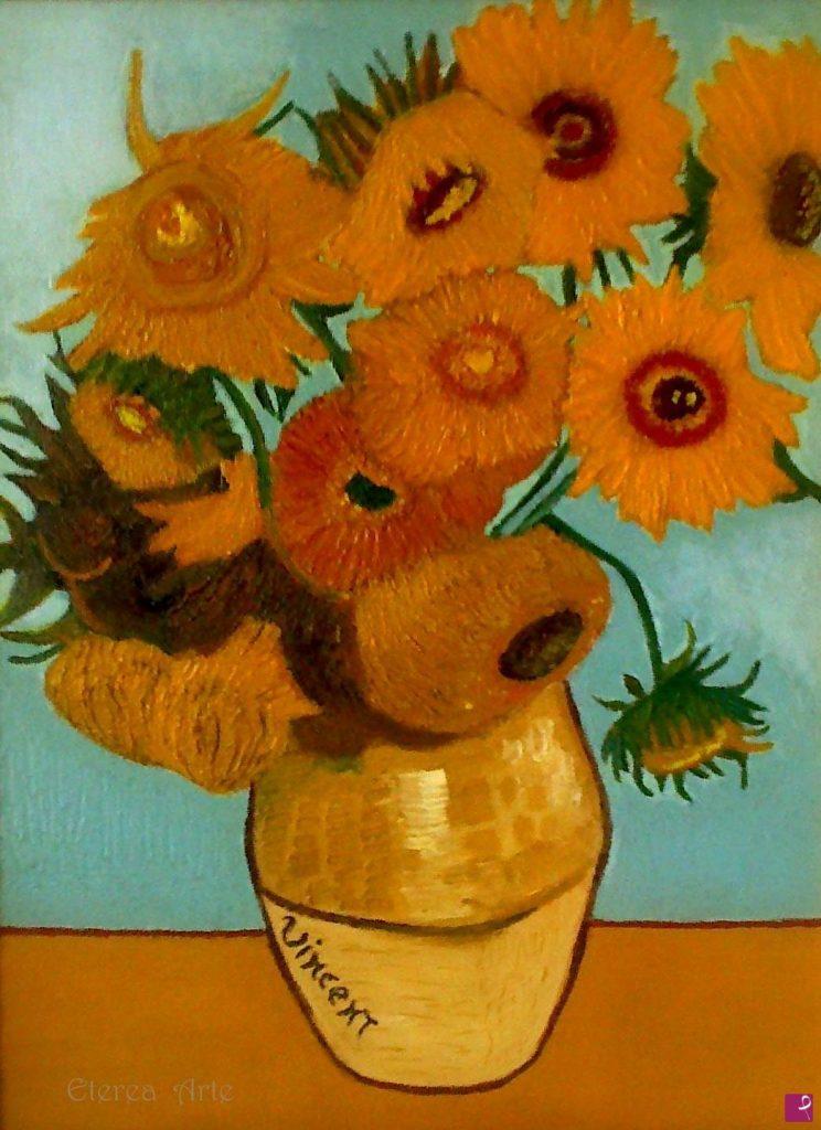 La pittrice contemporanea Eterea ha realizzato un falso d'autore dei Girasoli di Van Gogh