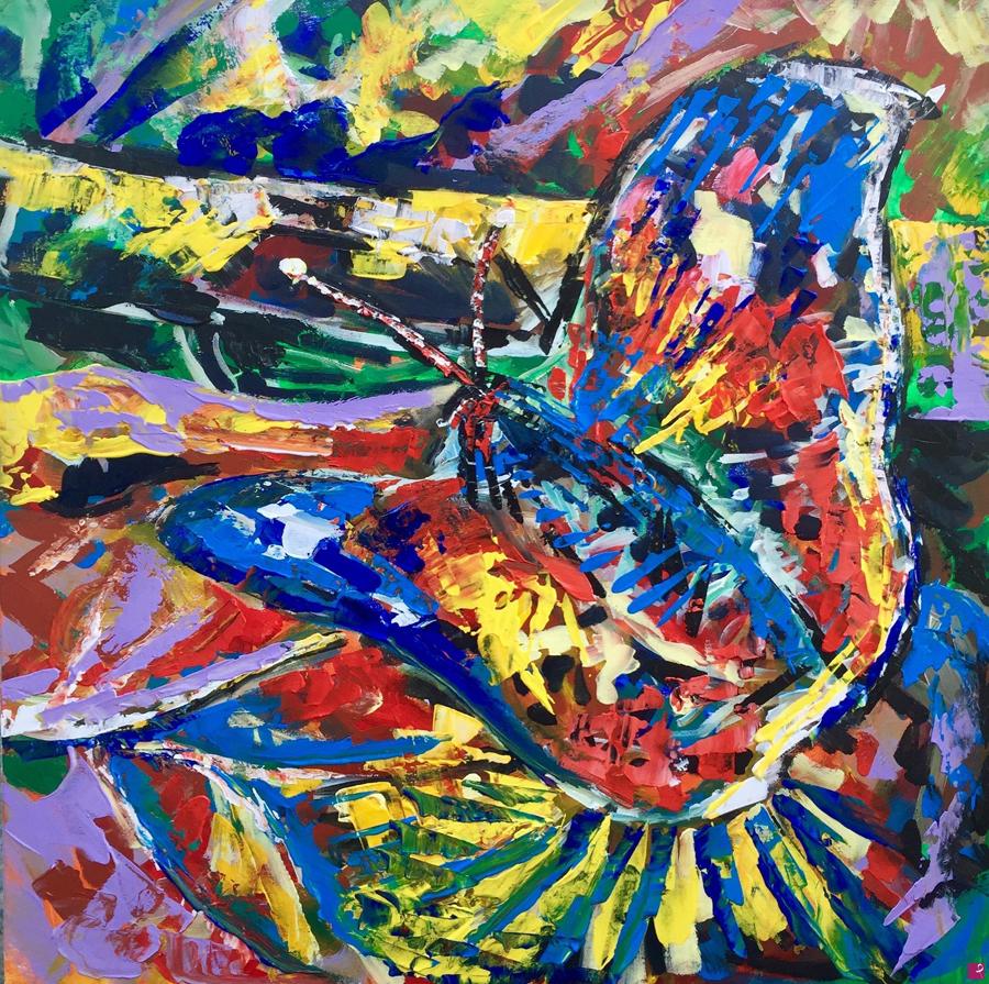 Farfalla di Alessandro Tognin - Acrilico su tela - 70x70cm