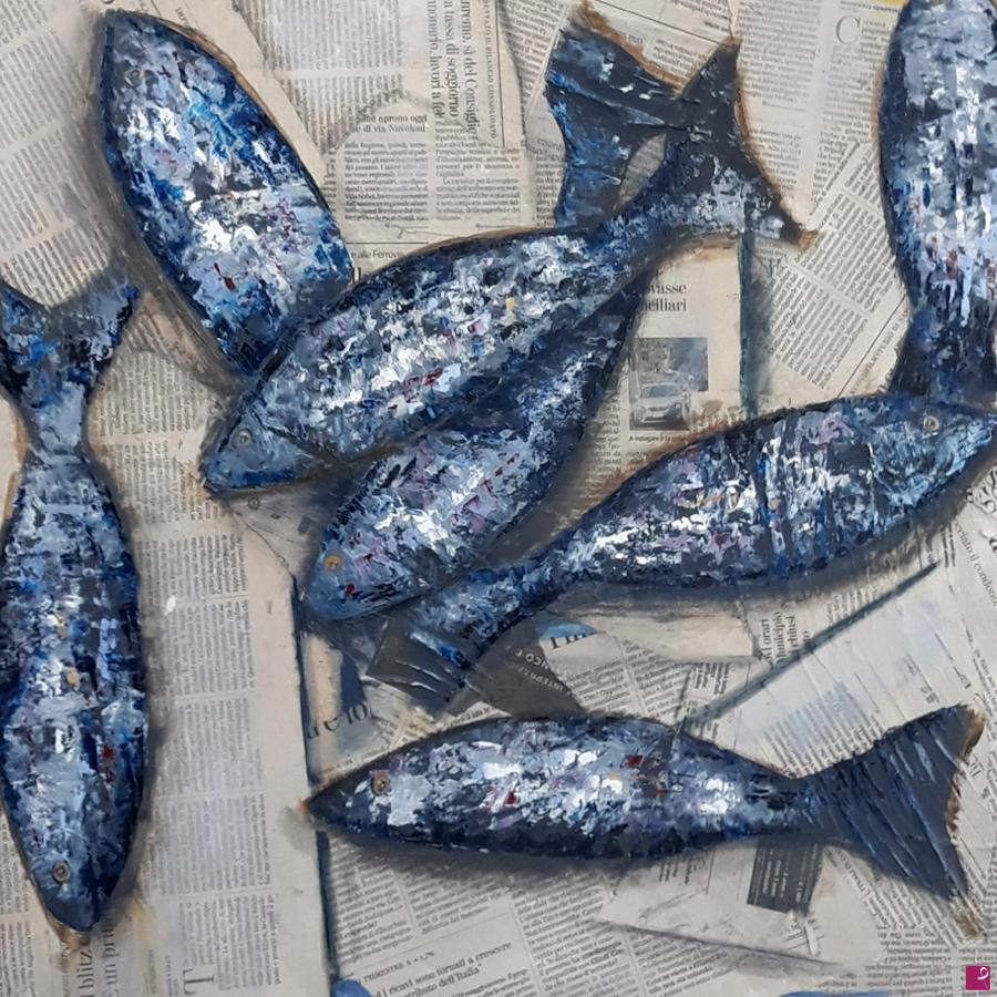 """""""Fishes"""" di Monica Zambon - 60 x 60 cm - Olio su tela"""