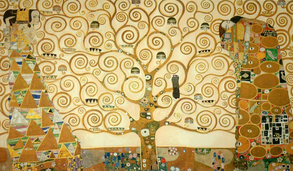 Gustav Klimt rappresenta la complessità dell'esistenza nel fregio di palazzo stoclet, rappresentando l'albero della vita, l'attesa e l'abbraccio