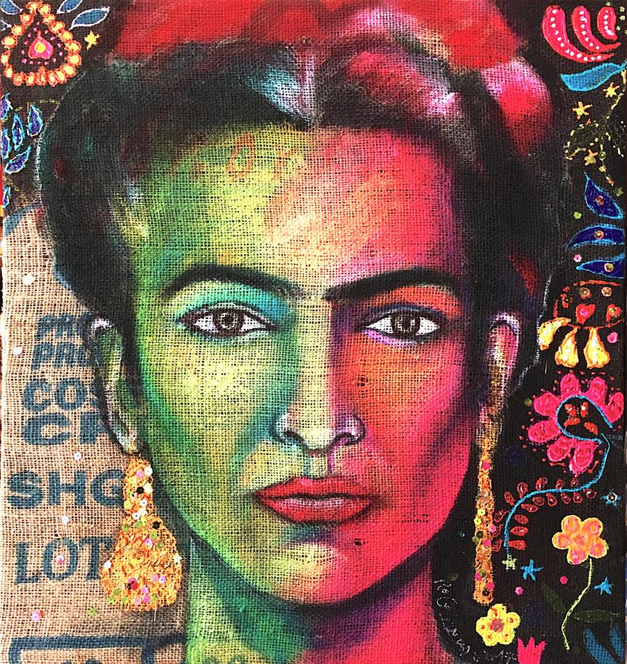 """""""Frida"""" - 60x60cm - Acrilici su juta - In vendita sullo store per 700,00€, anno 2017"""