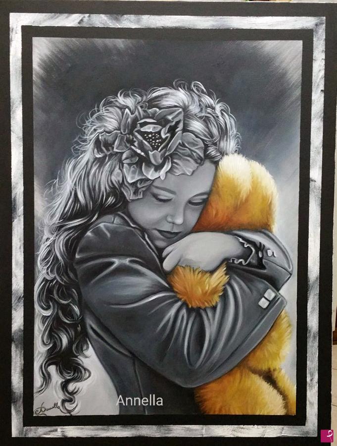 """Anna Copponi, in arte Annella """"Gif di tenerezza"""" - Olio e matita su tela - 60x80cm"""