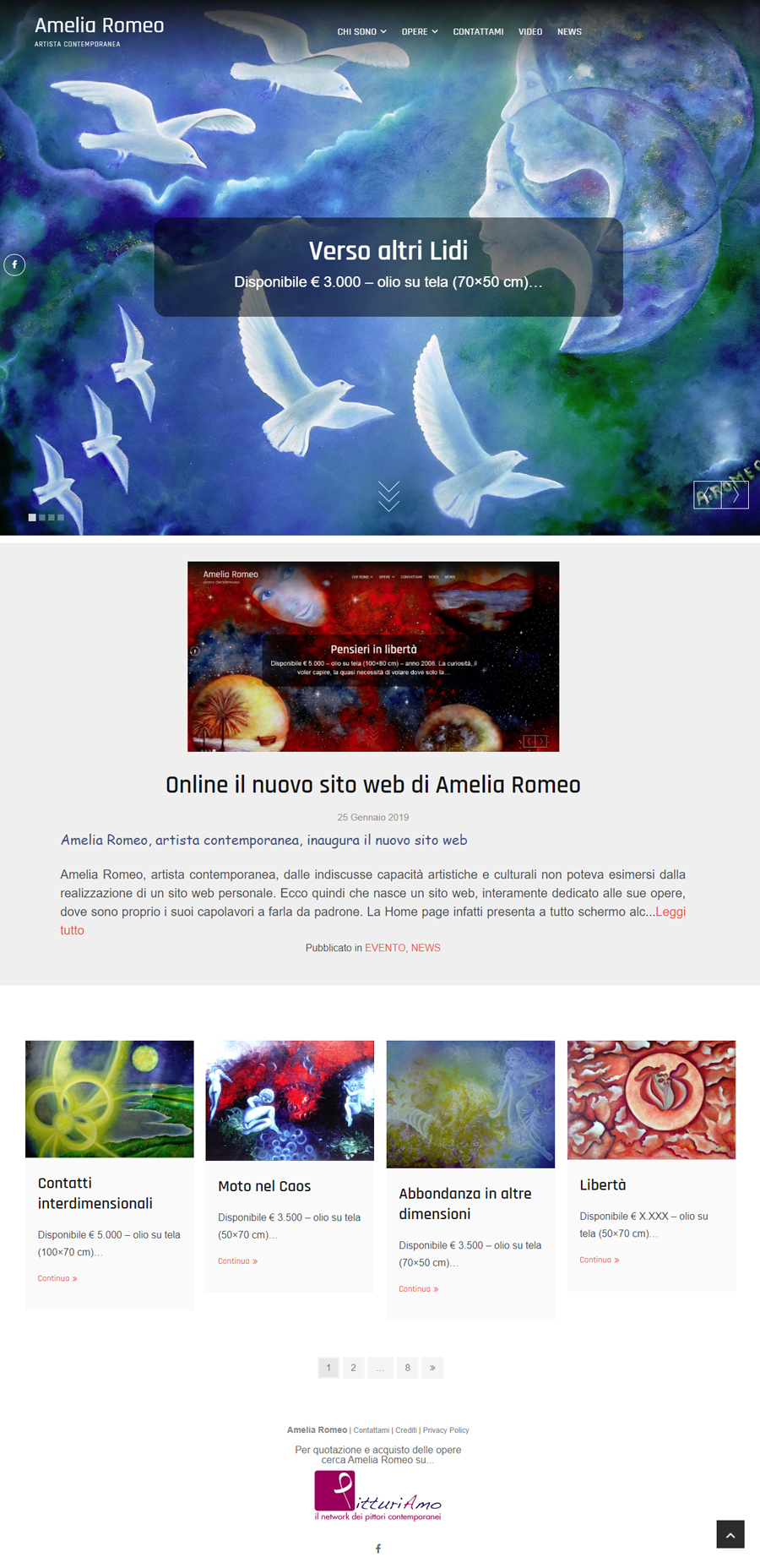 Ilsito web dell'artista Amelia Romeo - Pagina principale