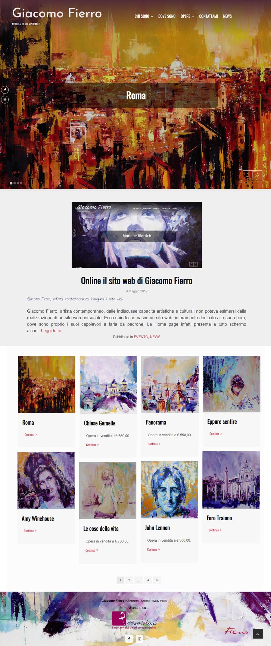 Sito del pittore Giacomo Fierro - Homepage