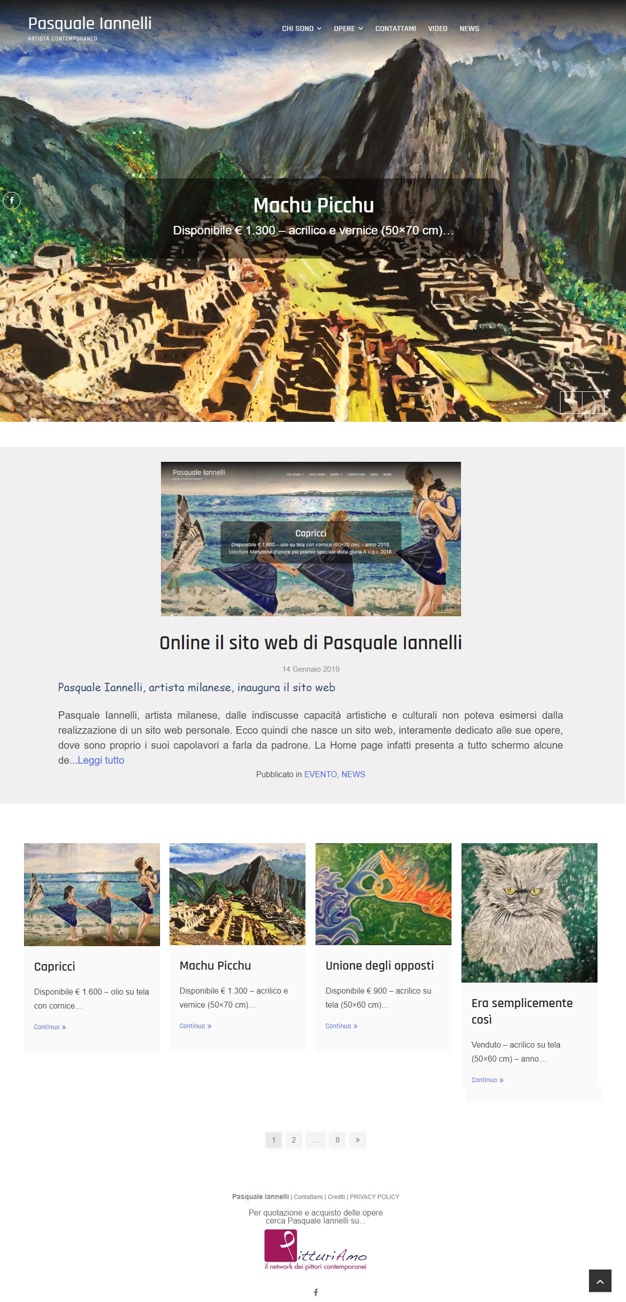 Homepage del sito web d'artista di Pasquale Iannelli, Maestro di PitturiAmo©