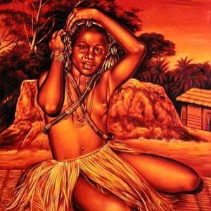 412VVC Giovane danzatrice, Congo - Pastello su velluto rosso - 50x70cm