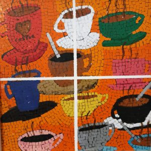 Il Coefficiente d'arte di Silvio Beraudo, in arte Sebastiank - Amico Caffè - Acrilico collage su legno - 34x34cm
