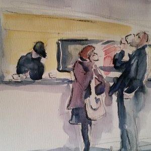 Al bar, 30x40cm tecnica: acquerello
