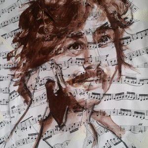 Il musicista, ritratto 30x40cm tecnica mista: collage, carboncino, acrilico
