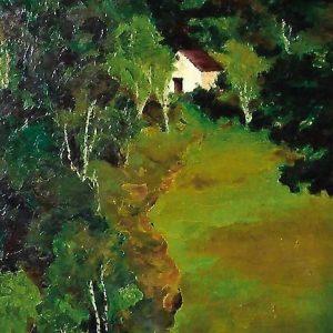 L'arte di Mario Fanconi - Betulle e cascinale - 70x90cm - Olio su tela di lino