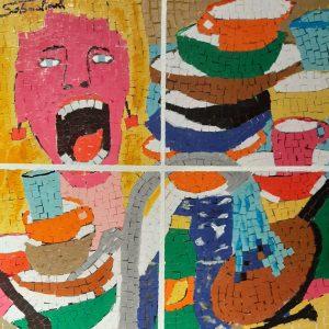 Cucina da urlo urlante - Acrilico collage su legno - 34x34cm