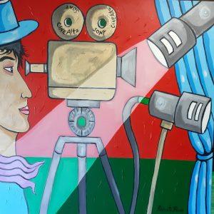 Ciak si gira - Acrilico su tela (80×80 cm) – 2020 - Il sitoweb del pittore di Roberto Russo
