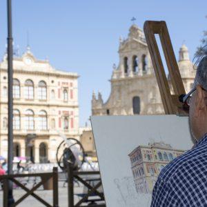 Fausto Rizzo durante l'estemporanea di Pittura