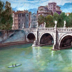 Ponte Sant'Angelo - Acquerello - 35x25cm